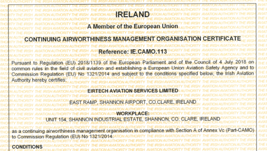 Eirtech Receive Part-CAMO Approval Certificate