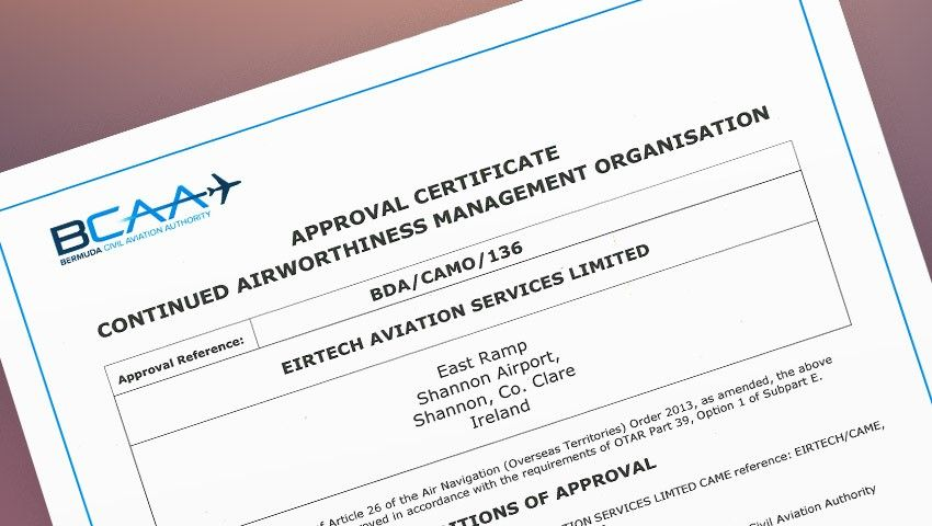 Eirtech Aviation Services Bermudan CAMO Approval